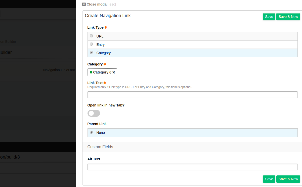 Add new Link Modal for Category