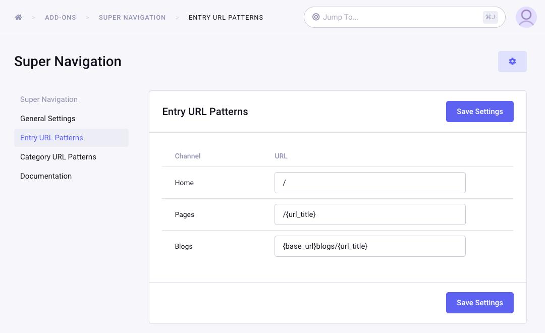 Save Entry URL Patterns