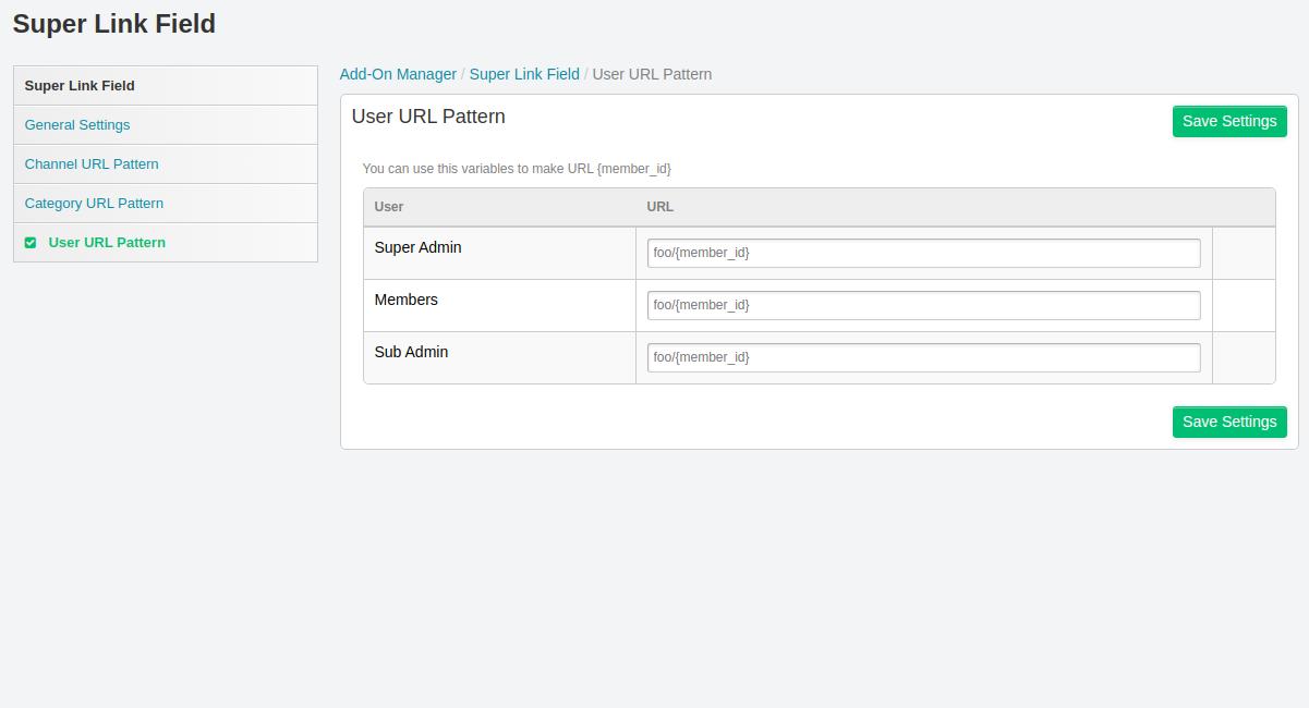 4. User URL Pattern
