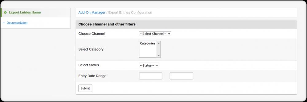Export Entries Management